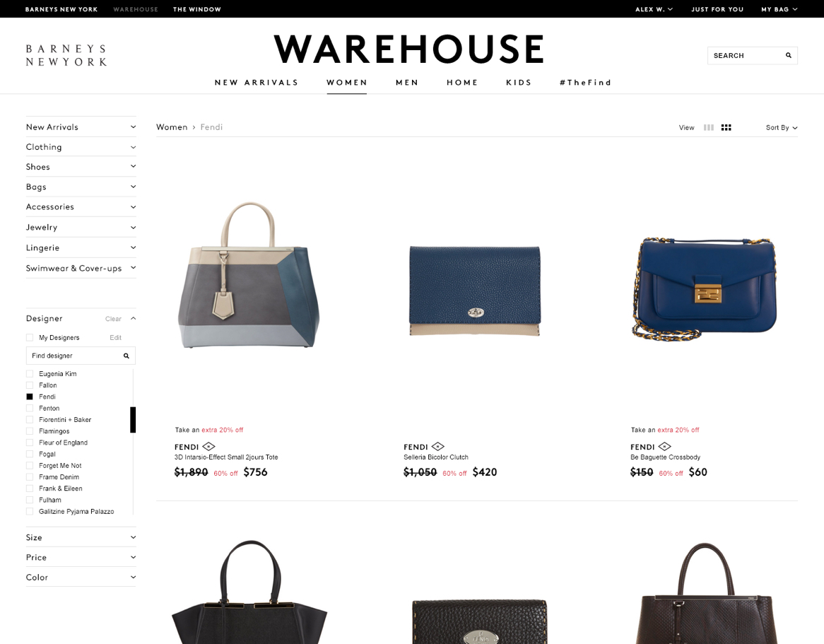 Barneys Warehouse website product listings page